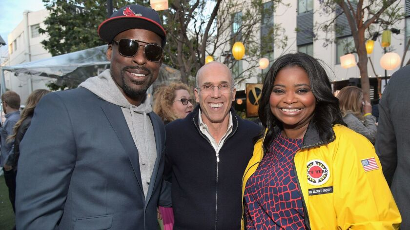 LOS ANGELES, CA - MAY 06: (L-R) Actor Sterling K. Brown, Jeffrey Katzenberg, and actor Octavia Spenc