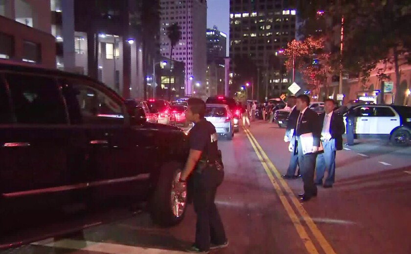 Some streets in downtown Los Angeles remain closed as President Trump attends a fundraising breakfast Sept. 18 before heading to San Diego.