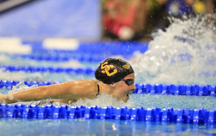 USC's Louise Hansson competes at the 2019 NCAA championships.