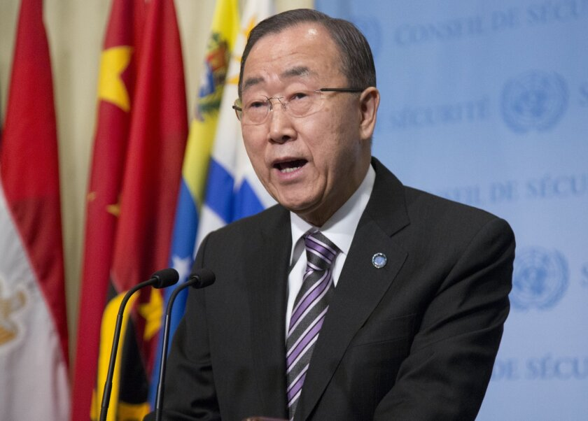 United Nations Secretary-General Ban Ki-moon holds a media briefing before attending a Security Council meeting, Wednesday, Jan. 6, 2016, at U.N. headquarters. (AP Photo/Bebeto Matthews)
