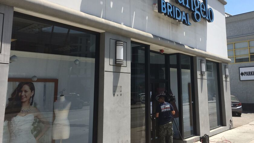 The Alfred Angelo Bridal store in Los Angeles' Beverly Grove neighborhood was closed on Friday.