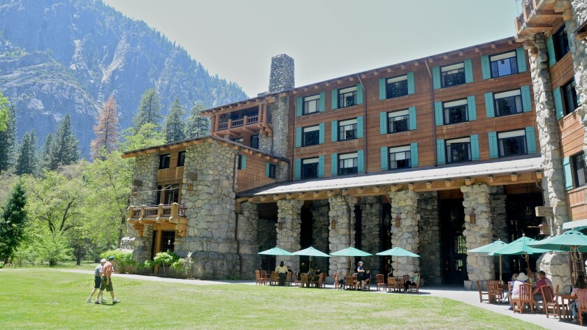 The Majestic Yosemite Hotel, formerly known as the Ahwahnee, stands in the heart of Yosemite Valley.