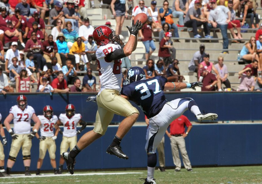 USD safety Robbie Beathard (37) earned academic All-America honors and has already signed a contract with accounting heavyweight PricewaterhouseCoopers.