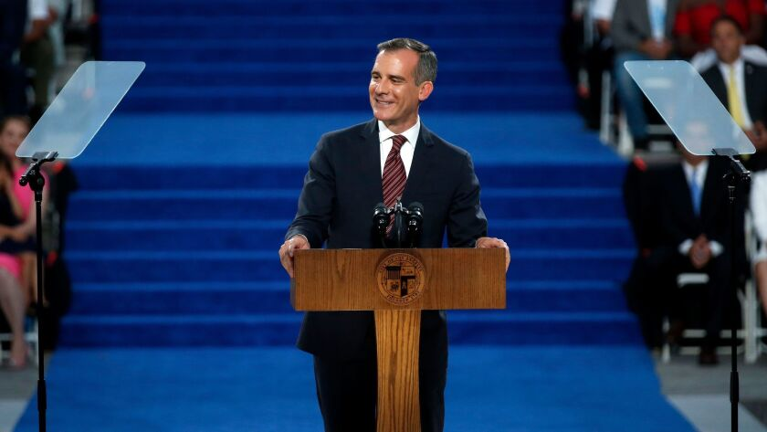 Mayor Eric Garcetti gives his acceptance speech after being sworn in for a second term.