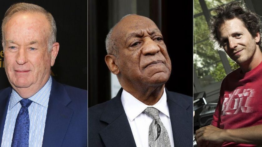 From left to right, former Fox News TV host Bill O'Reilly, actor Bill Cosby and producer Dr. Luke.