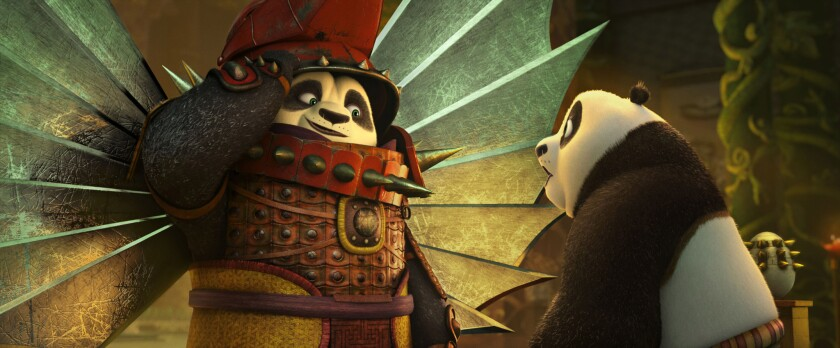 """Newly reunited Li (voiced by Bryan Cranston), left, and Po (voiced by Jack Black) spend father-son bonding time in the Hall of Heroes in """"Kung Fu Panda 3."""""""