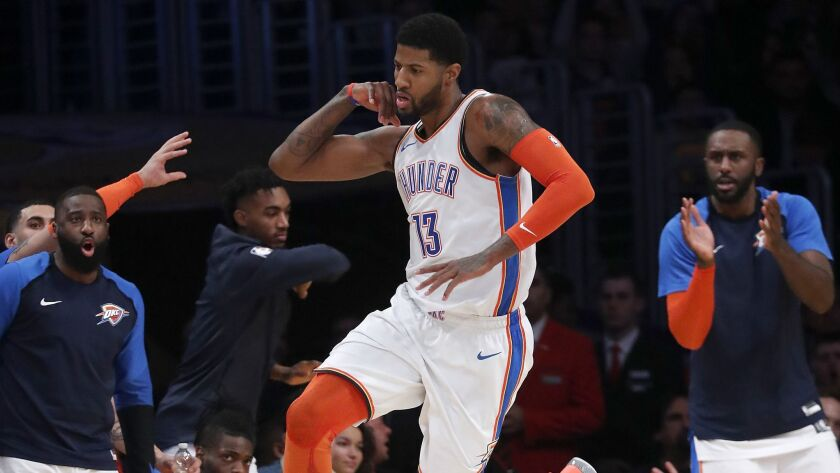 LOS ANGELES, CALIF. - JAN. 2, 2019. Thunder forward Paul George celebrates after scoring a basket a