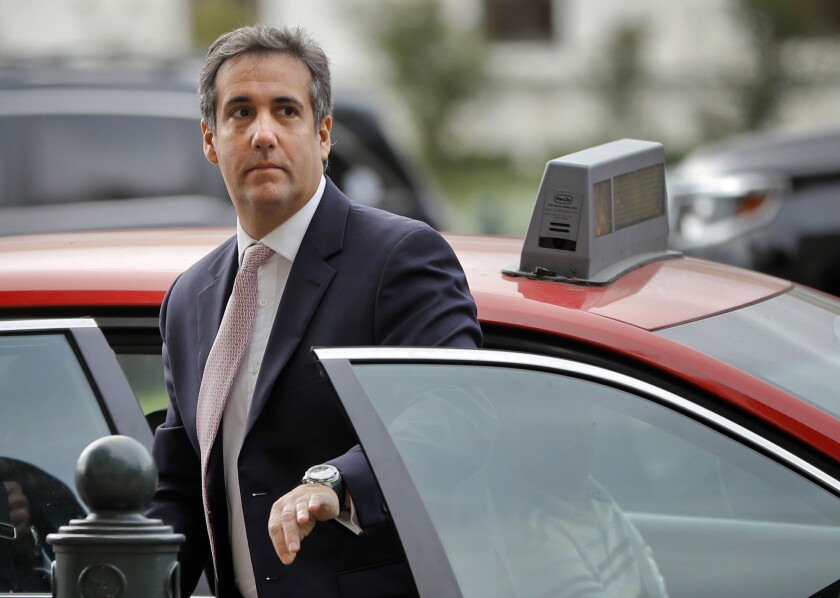 Michael Cohen arrives on Capitol Hill in Washington on Sept. 19, 2017.