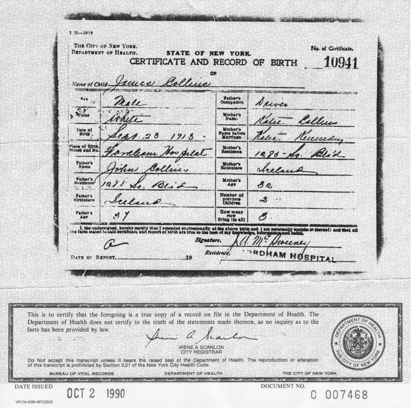 Jim Collins's birth certificate
