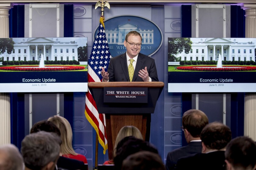 White House Council of Economic Advisers chairman Kevin Hassett, seen here during a press briefing on June 6, 2018, defended the White House's increasingly aggressive trade policies, calling Harley-Davidson's decision to move some operations overseas an exception to a broader trend of renewed corporate investment within the United States.