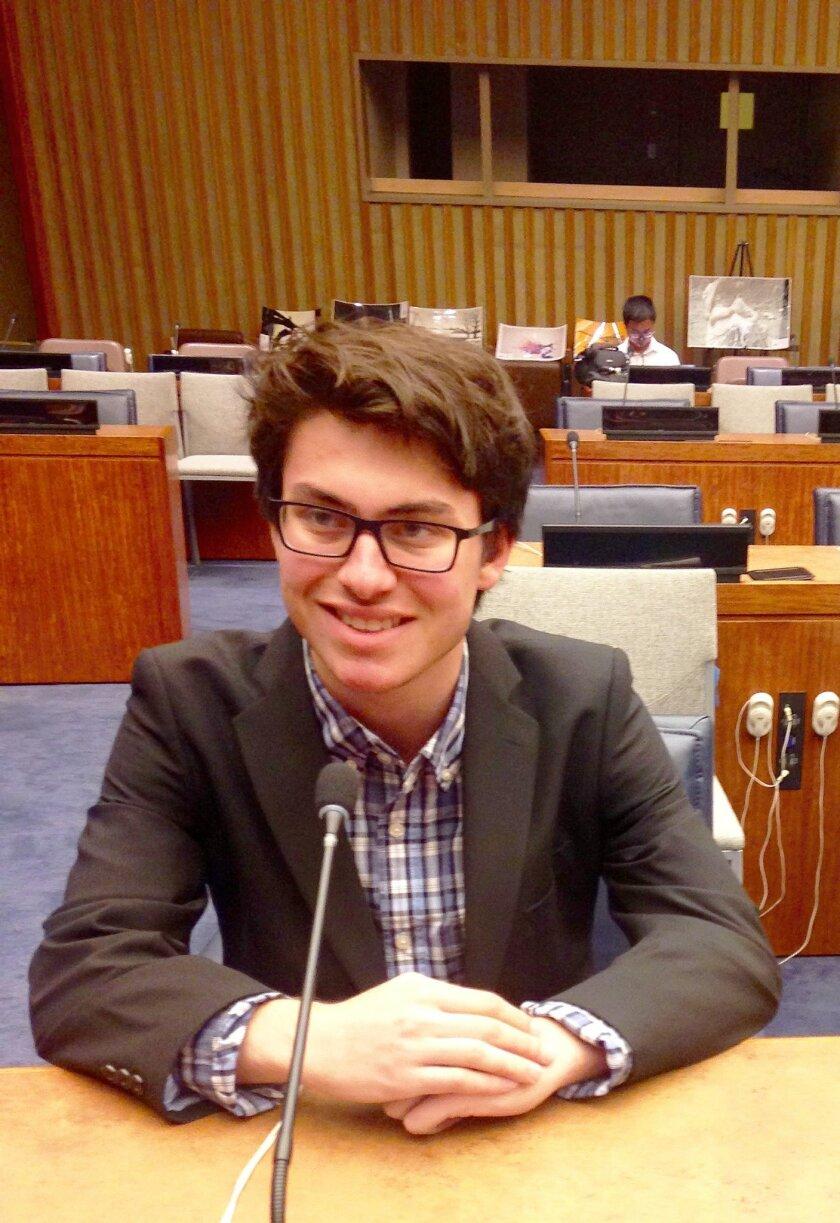 La Jolla High School senior Nicolas Nave prepares to read his essay at the United Nations headquarters in New York City Aug. 11.