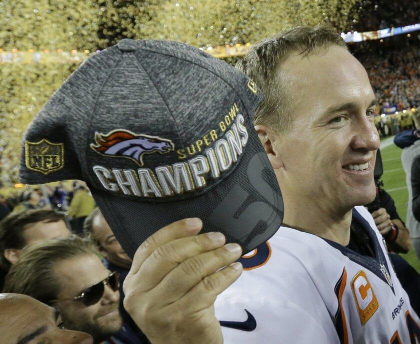 Denver Broncos' Peyton Manning celebrates after the NFL Super Bowl 50 football game Carolina Panthers Sunday, Feb. 7, 2016, in Santa Clara, Calif. The Broncos won 24-10. (AP Photo/David J. Phillip)