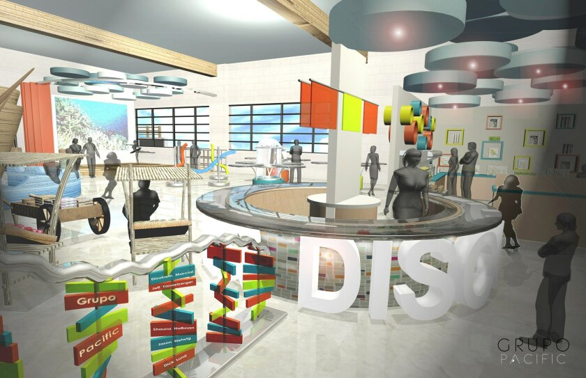 This architectural rendering shows the entry area of the future home of the San Diego Children's Discovery Museum in Escondido.