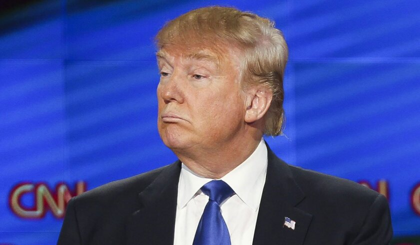 U.S. Republican presidential candidate Donald Trump at Thursday night's debate.