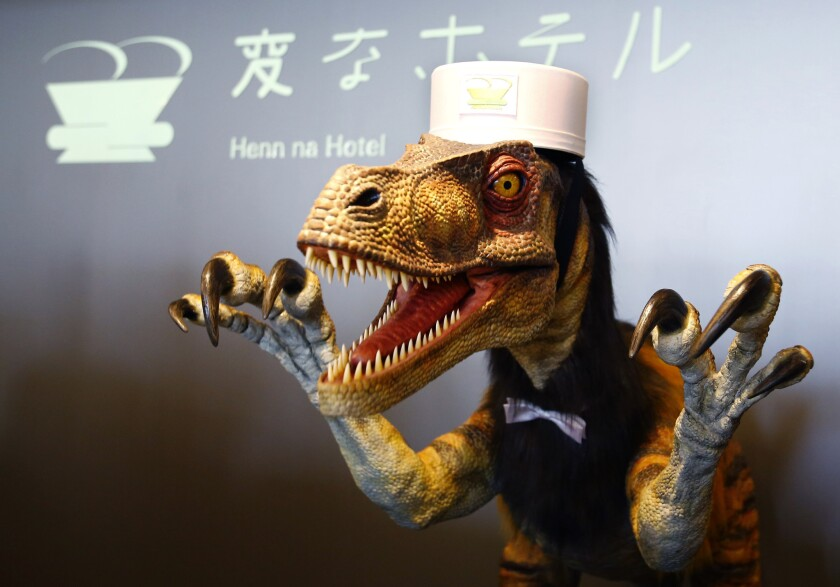 Meet a hotel lobby receptionist at the Henn na Hotel in Sasebo, Japan. He talks a little and is one of the all-robot staff members at the offbeat hotel that opened Wednesday.