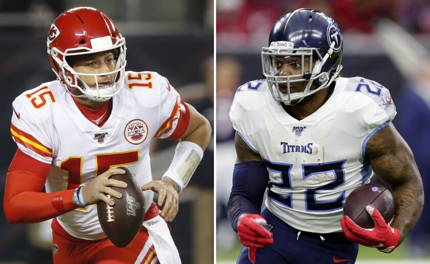 Chiefs quarterback Patrick Mahomes, left, and Titans running back Derrick Henry have been carried their team's offense to the championship game.