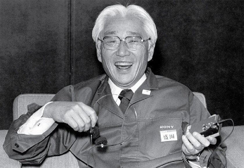 Sony Corp. Chairman Akio Morita showed a Walkman during a 1982 meeting in Tokyo. Today, Sony is trying to win back its reputation as a pioneer of razzle-dazzle gadgetry. (Associated Press)