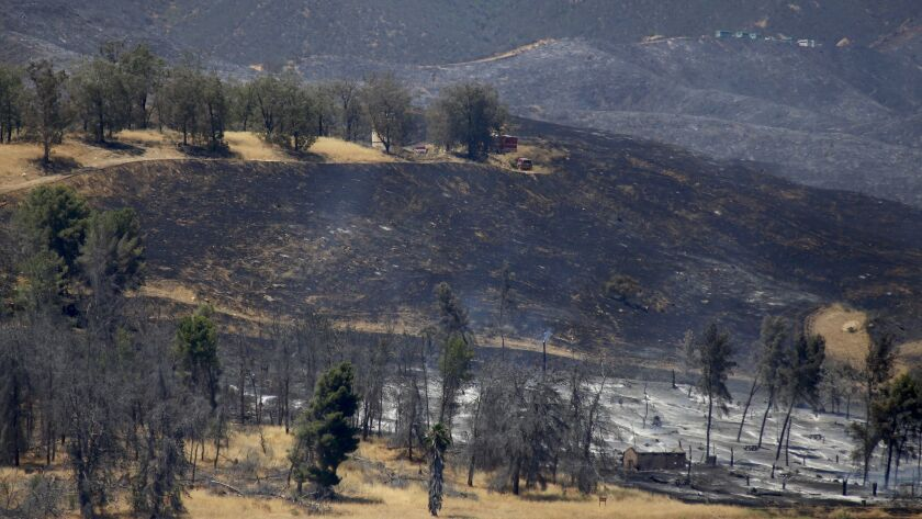 A brush fire near Castaic Lake burned 1,000 acres over the weekend and was only 10% contained as of
