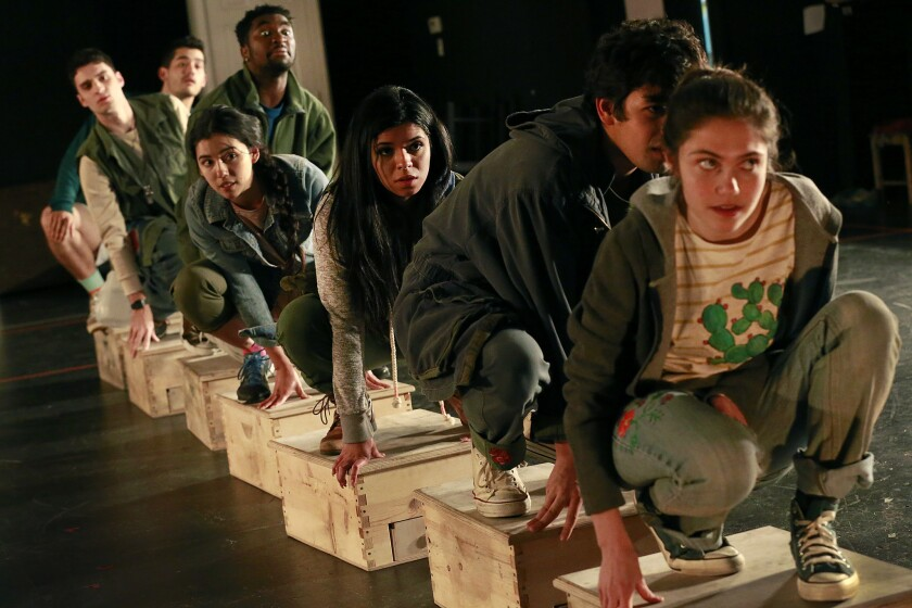 """Cast members of CalArts rehearse """"Shelter,"""" a play that is a movement-based performance which tells the stories of unaccompanied minors crossing the U.S. border and passing through the deportation shelter system."""