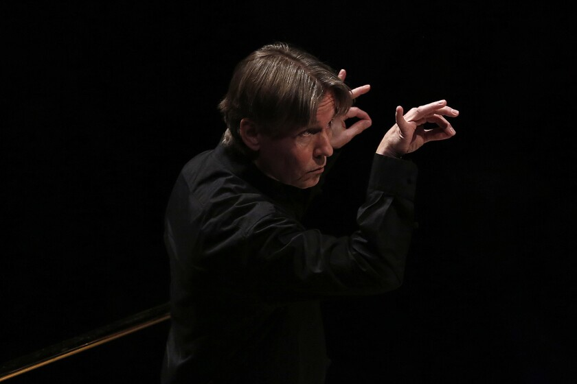 LOS ANGELES, CA --WEDNESDAY, APRIL 20, 2016 -- Esa-Pekka Salonen conducts at Disney Hall during a