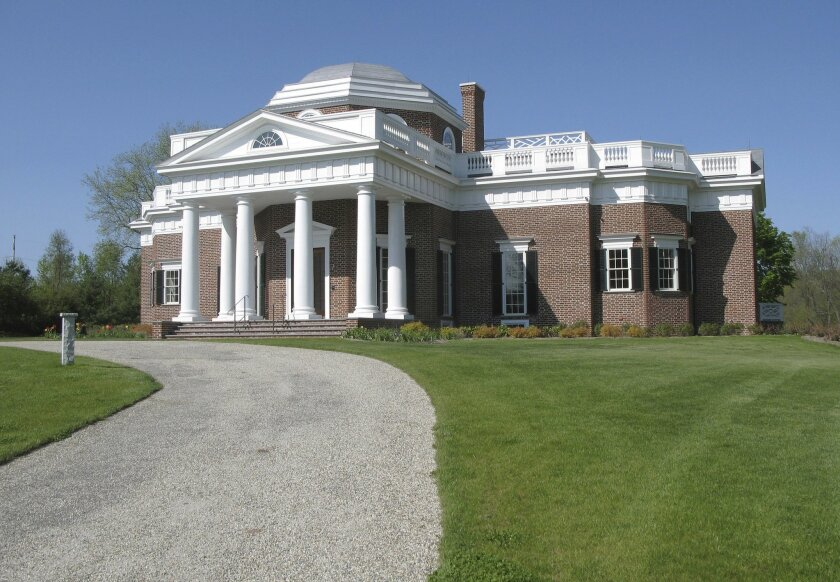 FILE - In this May 11, 2016 file photo, a replica of Thomas Jefferson's Monticello stands in Somers, Conn.  Dr. John Papale made the high bid of $2.1 million for the home in nearby Somers at auction this week. The doctor says he's a history buff and admirer of the founding fathers. (AP Photo/Pat Ea