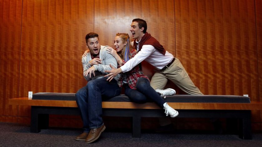 """Actors Jake Rosko, Sofia Sassone and Bernardo Mazon rehearse a scene from """"Pros and Cons,"""" part of the Plays by Young Writers festival at the Old Globe."""