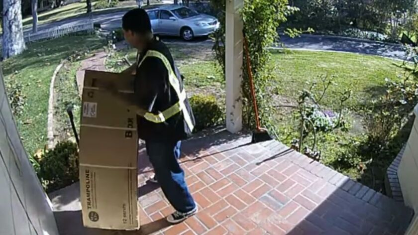 A man caught on video stealing packages from a front porch in South Pasadena in 2016.