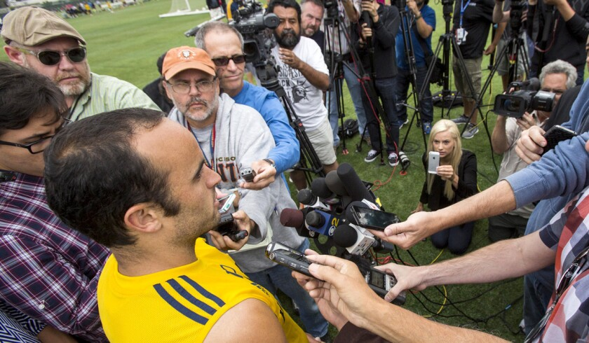 Galaxy forward Landon Donovan talks to media after a training session Saturday at StubHub Center.