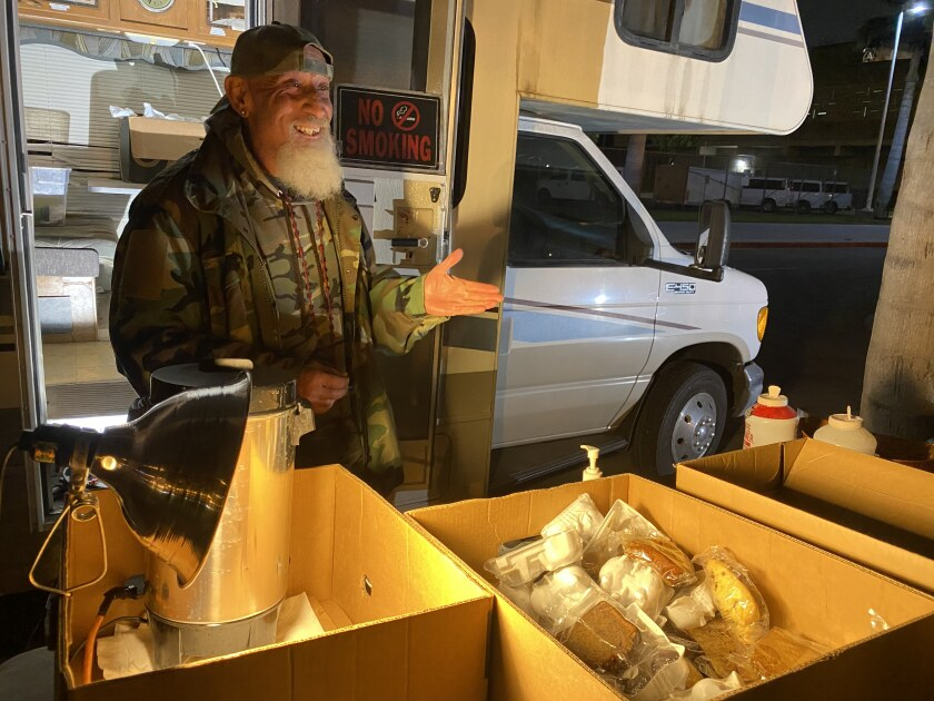 Vaskin Koshkerian of Micah's Way stands outside his RV near the Central Jail Complex in Santa Ana.