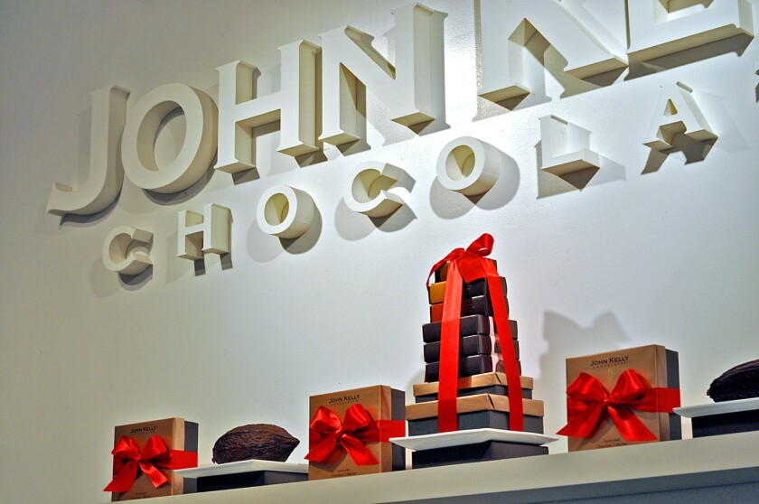 John Kelly Chocolates began as a small wholesale chocolate factory in Hollywood 10 years ago; now it has two retail shops, as well as the original factory.