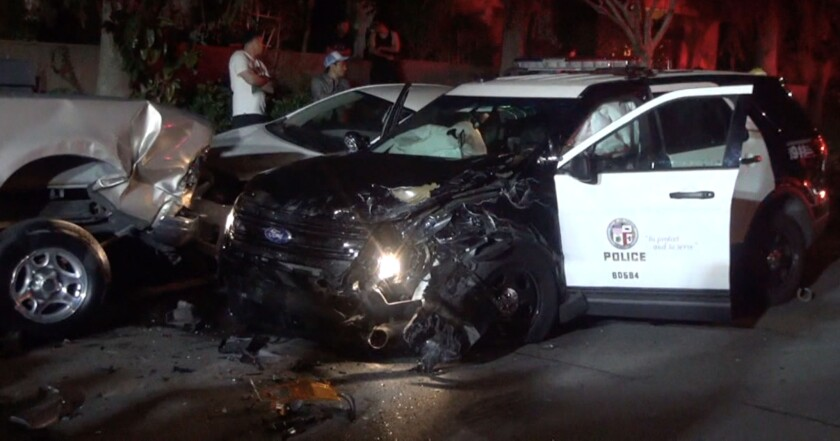 Two LAPD officers were injured early Sunday in a traffic collision along Sepulveda Boulevard in North Hills.