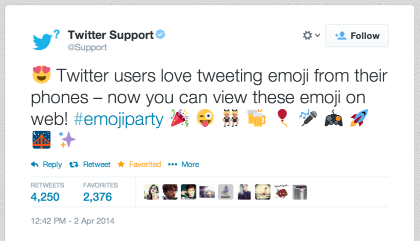 Twitter this week made it possible for users to see emoji icons on the Web version of its service.