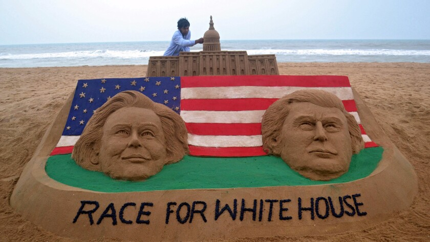 Election sandcastle in India