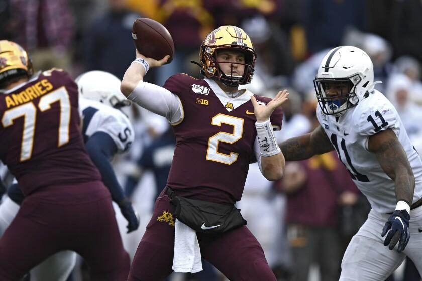 Minnesota quarterback Tanner Morgan passes against Penn State.