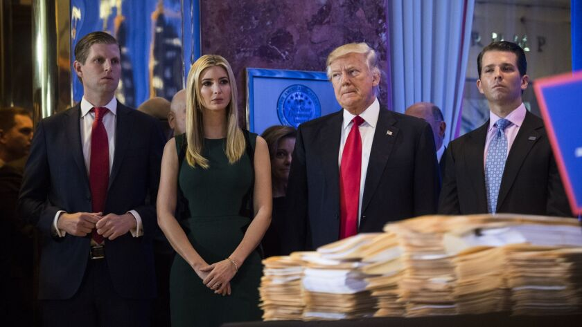 President-elect Donald Trump and his three eldest children, Eric, left, Ivanka and Donald Jr., at a news conference at Trump Tower in New York on Jan. 11, 2017.