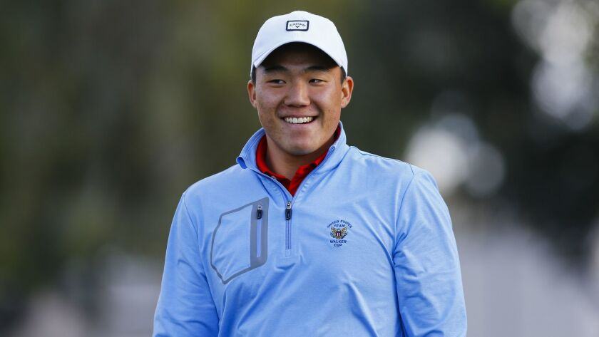 Pro Kids Golf Academy Homecoming at Colina Park Golf Course featuring Norman Xiong and Tiffany Joh. Norman Xiong smiles after teeing off on the 11th hole at Colina Park Golf Course.