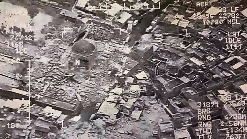 This aerial view taken on June 21, 2017, and provided by Iraq's Joint Operation Command reportedly shows destruction inside Mosul's Al-Nuri mosque compound.