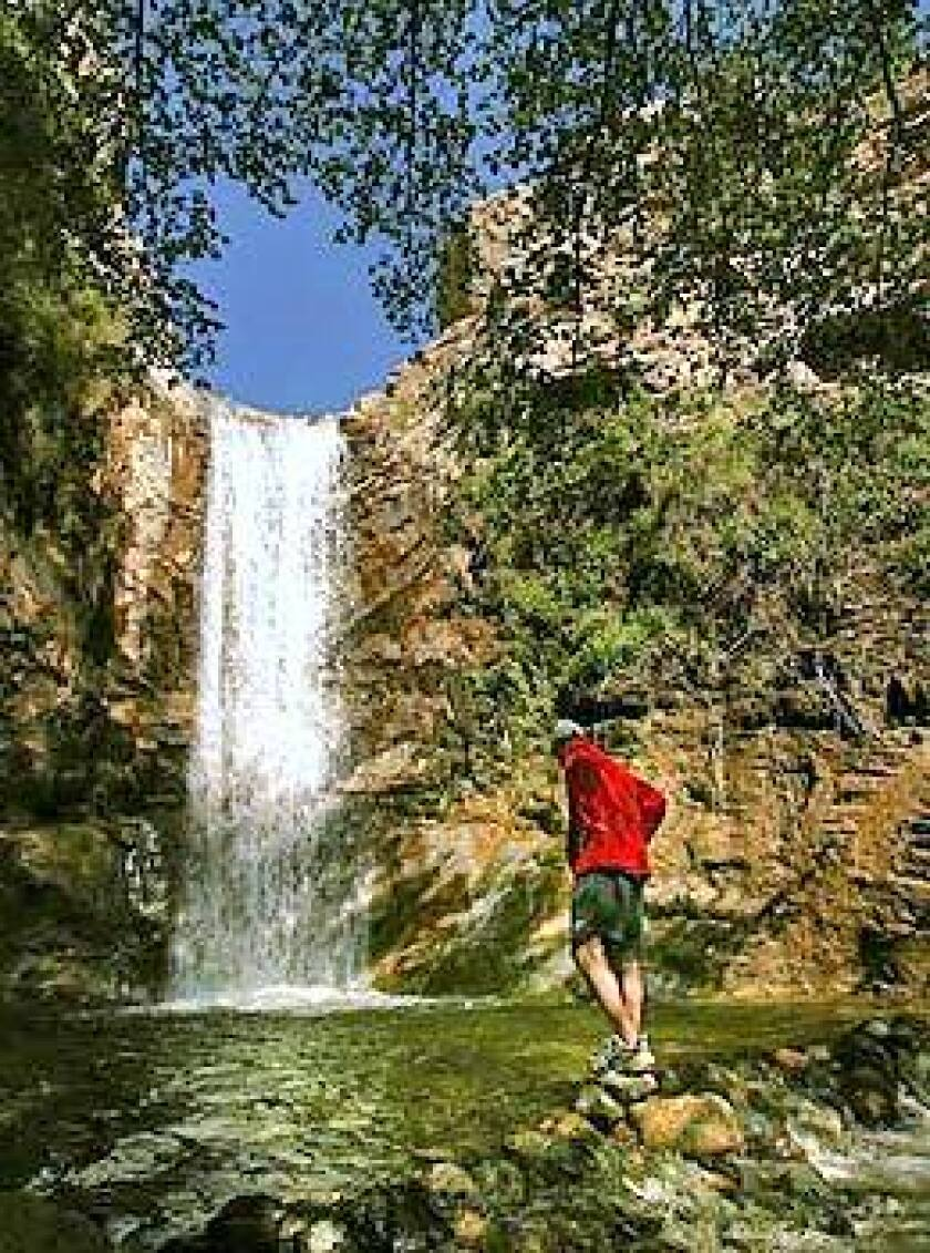 Trail Canyon Falls is an easy to reach 40- to 50-foot curtain pouring like silver over a ledge in Lower Big Tujunga Canyon.