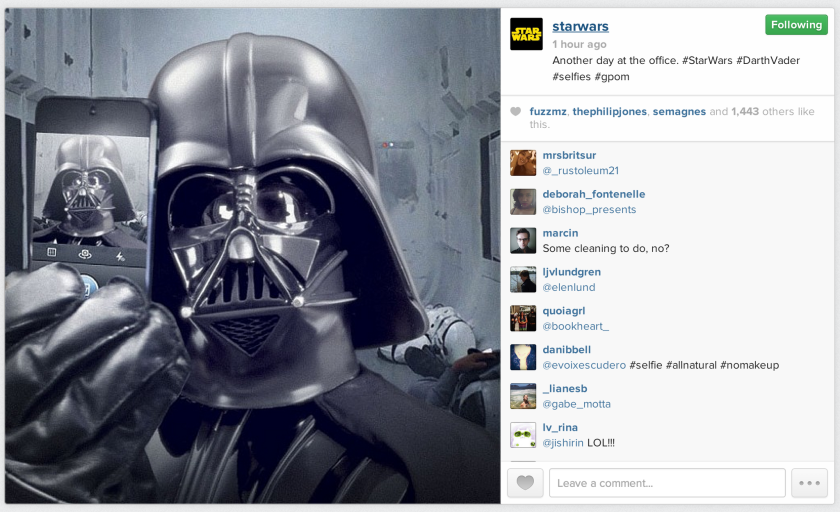 Darth Vader takes a selfie in the debut Instagram picture for Star Wars.