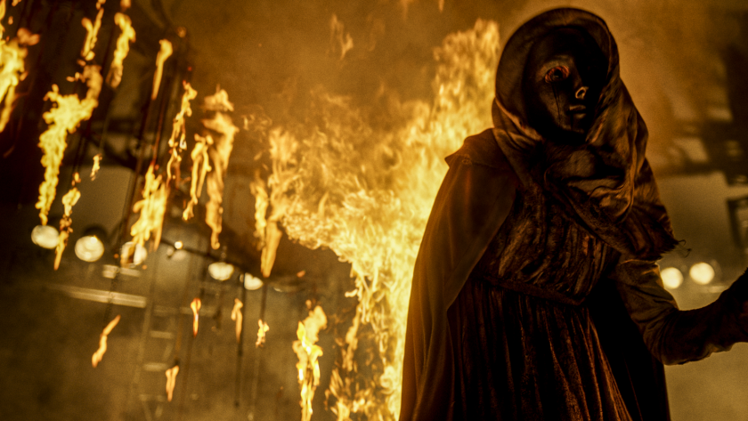 """A scene full of fire from the movie """"The Unholy."""""""