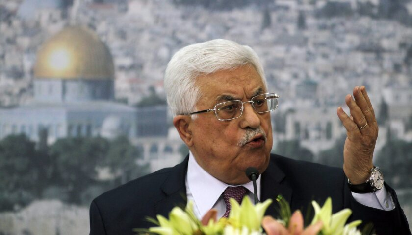 Palestinian President Mahmoud Abbas is seen speaking during a meeting with Israeli University students in the West Bank city of Ramallah. Some 250 student leaders and heads of student organizations from several Israeli academic institutions met with President Abbas, an event is a joint initiative of the Knesset Caucus to Resolve the Arab-Israeli Conflict, chaired by MK Hilik Bar, and the National Union of Students.