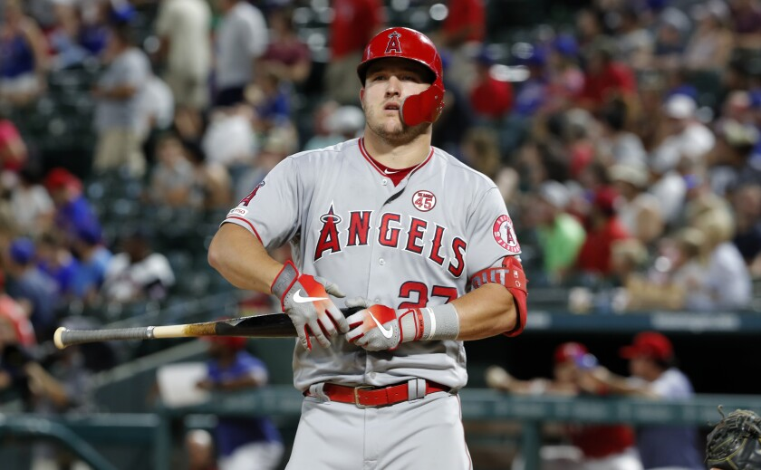 Angels slugger Mike Trout works an at-bat during the fourth inning of an 8-7 loss to the Texas Rangers on Monday.