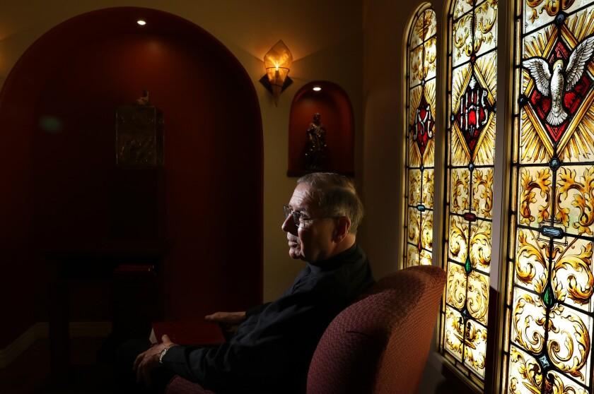 HOLLYWOOD-CA-JULY 3, 2018: Cardinal Mahony is photographed at Charles Borromeo parish in Hollywood o