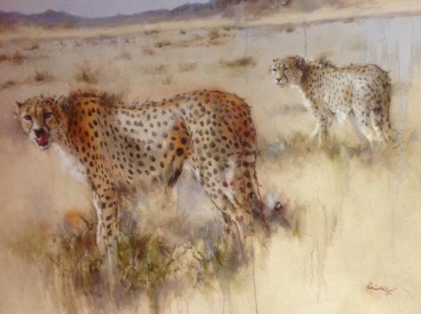 Two Asiatic cheetahs are depicted in this painting by Iranian artist Hossain Irandoust Moghaddam, which hangs in the offices of the national environment agency.