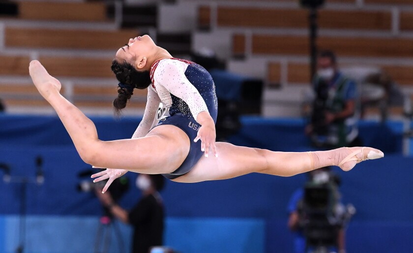 -TOKYO,JAPAN July 29, 2021: USA's Sunisa Lee competes on the floor exercise.