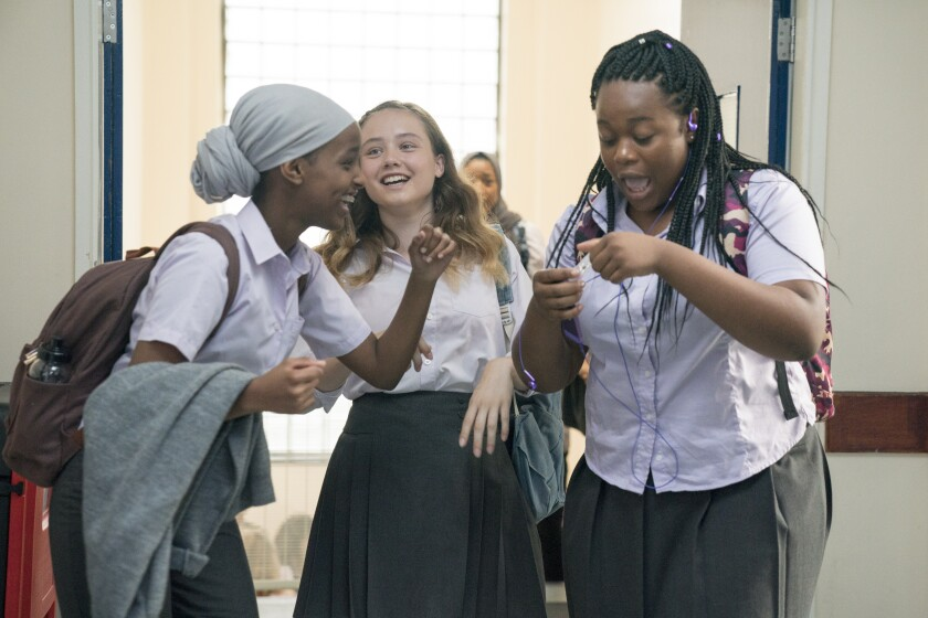 """This image released by Altitude shows, from left, Kosar Ali, Ruby Stokes and Bukky Bakray in a scene from """"Rocks."""" The film received seven nominations from the EE British Film Academy Awards (Aimee Spinks/Altitude via AP)"""