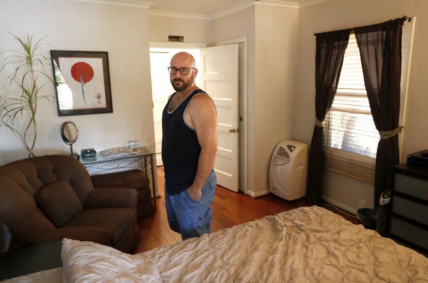 LOS ANGELES, CA-SEPTEMBER 28, 20018: Marc Bochner, who lives in one of the apartments in the Westla