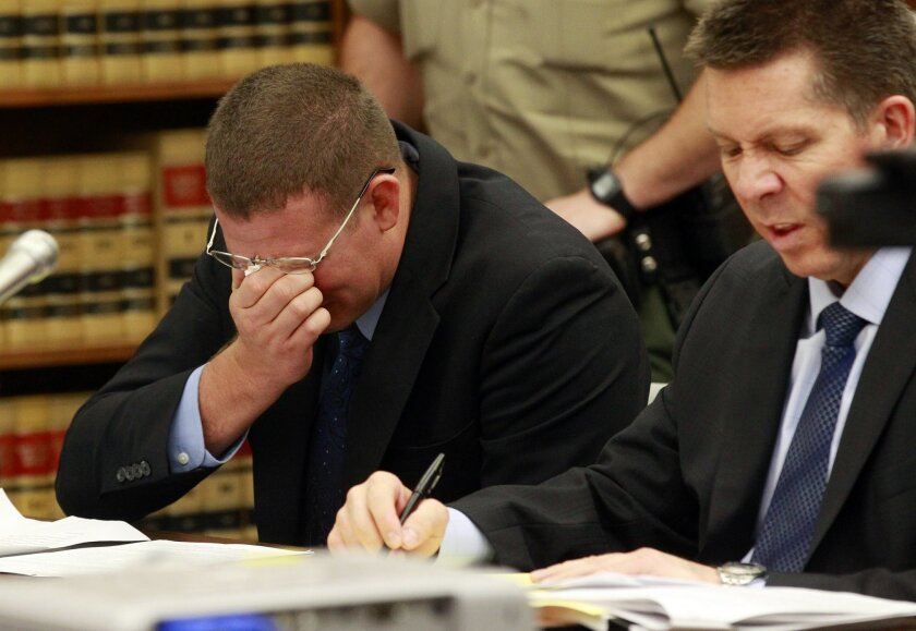 Former San Diego police officer Christopher Hays, 30, is sentenced in superior court Friday for charges related to him groping women during pat-down searches. Hays was sentenced to one year in jail and three years probation.