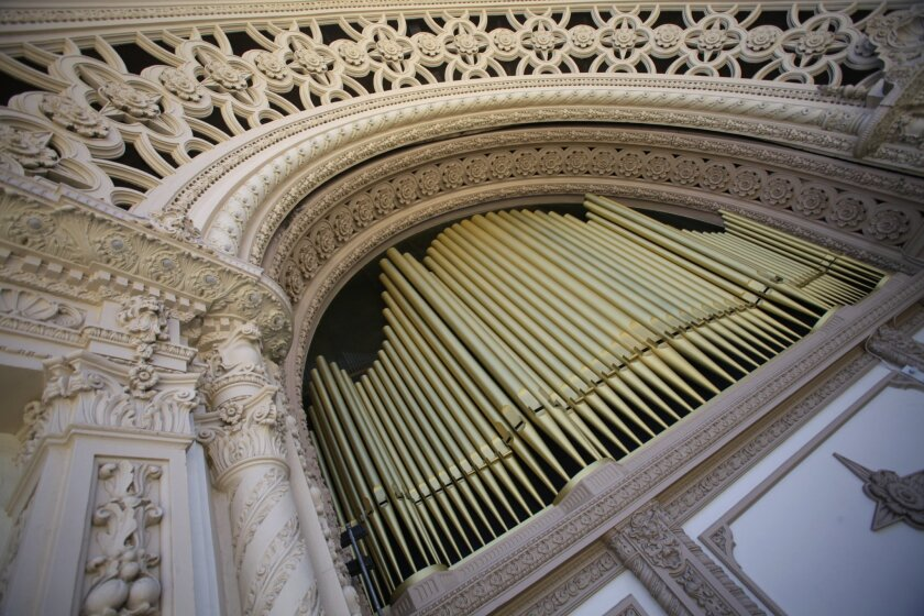 The Organ Pavilion in Balboa Park houses the Spreckels Organ which debuted in 1915.