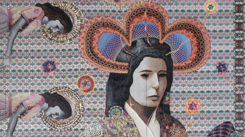 "Detail of ""Les Femmes d'Alger #I"" by Asad Faulwell at Denk gallery in Los Angeles. The full work can be seen below."